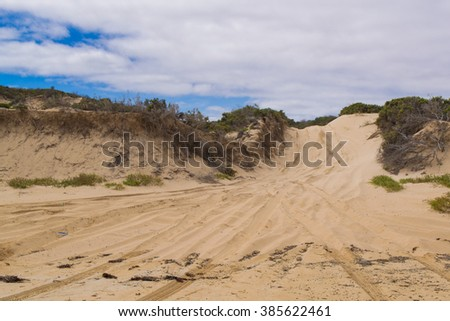 Sandy offroad track in conservational park in South Australia