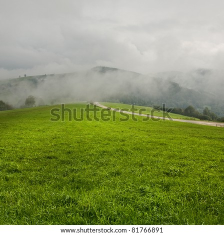 Sandy path on the hill top - stock photo