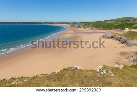 Sandy Pobbles beach The Gower Peninsula Wales uk popular Welsh tourist destination and next to Three Cliffs Bay