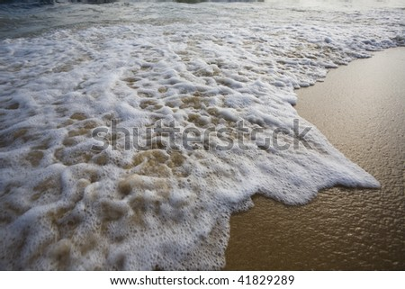 Sandy seacoast in summer day. - stock photo