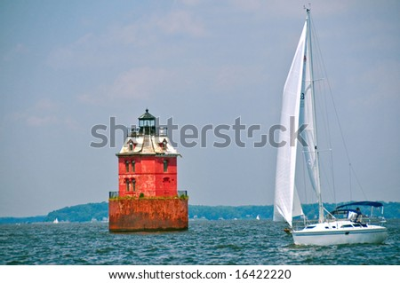 sandy shoal lighthouse in chesapeake bay, maryland - stock photo