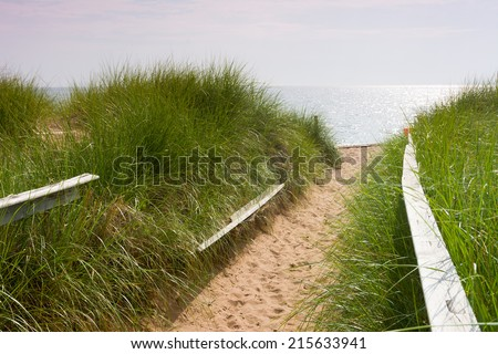 Sandy Walkway to Lake Superior in Duluth Minnesota - stock photo
