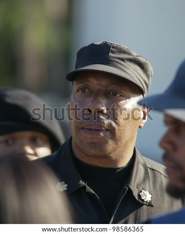 SANFORD, FL-MARCH 26: Mikhail Muhammad of the New Black Panther party speaks to supporters of the Trayvon Martin Rally on March 26, 2012 in Sanford Florida.