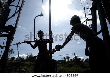 Sangatta Oil Field, Balikpapan, Borneo, East Kalimantan, Indonesia, Asia - stock photo