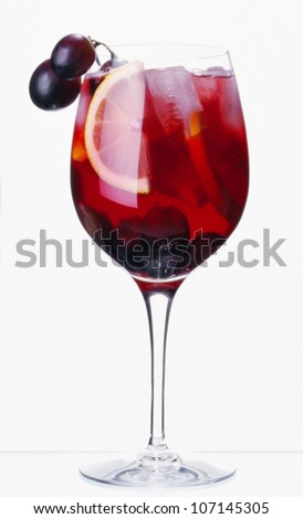 Sangria drink against white background - stock photo