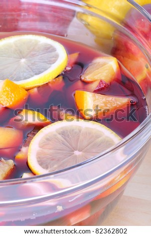Sangria in glass bowl, closeup - stock photo