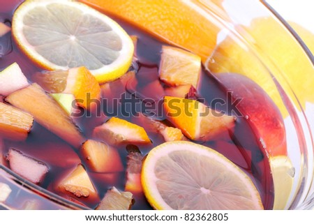 Sangria in glass bowl, closeup shot - stock photo