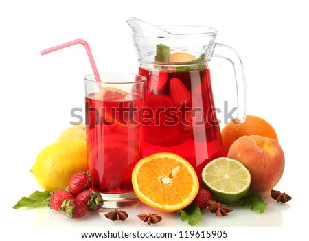 sangria in jar and glass with fruits, isolated on white - stock photo