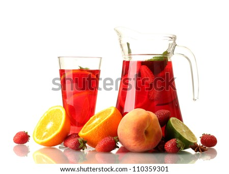 sangria in jar nad glass with fruits, isolated on white - stock photo