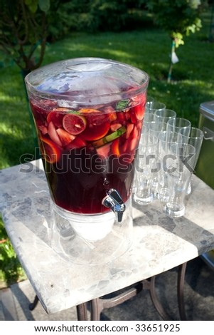 Sangria is a wine punch typical of Spain, Portugal and Italy. - stock photo