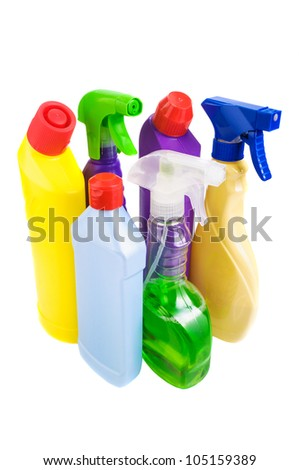 Sanitary bottle set on white background - stock photo