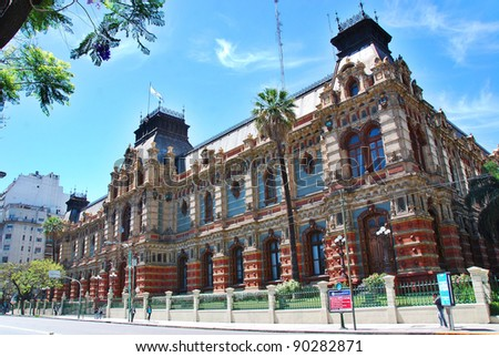 "Sanitary Works building (""Edificio Obras Sanitarias""), Buenos Aires, formerly known as ""Palacio de las Aguas Corrientes"", is a magnificent baroque-style building n Buenos Aires. - stock photo"