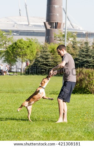 Sankt-Petereburg, Russia - May 15 2016: the man plays in park with a dog - stock photo