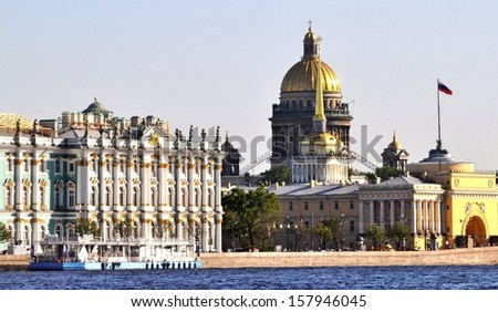 Sankt Petersburg most important landmarks Hermitage Isaac Cathedral and Admiralty - stock photo