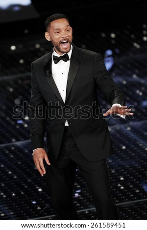 SANREMO, ITALY - FEBRUARY 14: Actor Will Smith guest on the stage of the 65th Sanremo Song Festival at the Ariston Theatre on February 14, 2015 in Sanremo, Italy. - stock photo