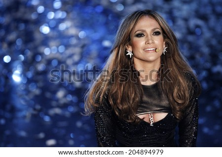 SANREMO, ITALY - FEBRUARY 19: Jennifer Lopez performs live during the 60th Sanremo Song Festival at the Ariston Theatre on February 19, 2010 in Sanremo, Italy. - stock photo