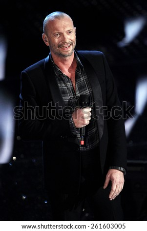 SANREMO, ITALY - FEBRUARY 11: Singer Biagio Antonacci performs on the stage of the 65th Sanremo Song Festival at the Ariston Theatre on February 11, 2015 in Sanremo, Italy.