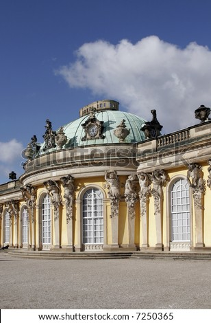Sanssouci, former summer palace of Frederick the Great, King of Prussia at Potsdam, just outside Berlin. - stock photo