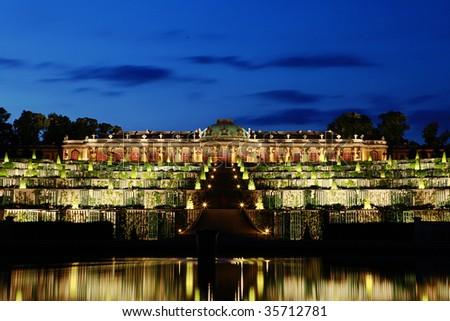 Sanssouci Palace at Night, Potsdam, Germany - stock photo