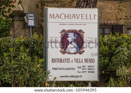 Sant'Andrea Italy 3 May 2014 Machiavelli lived and worked in this now famous and historical villa in the province of Florence, Tuscany Italy