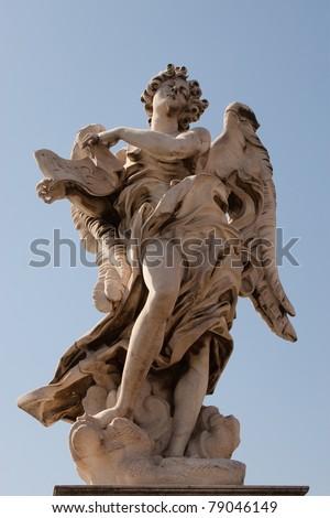 Sant'Angelo Bridge in Rome, Italy  (september 2007) - stock photo
