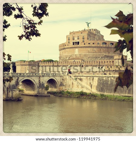 Sant'Angelo Castel in Rome (Italy). Shoot take with a mobile camera effect - stock photo