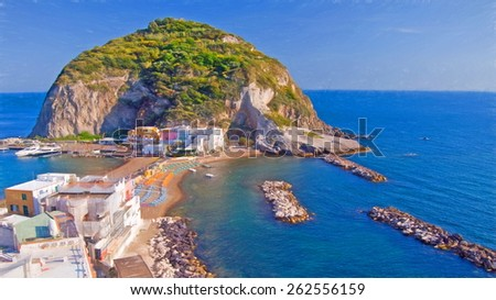 Sant Angelo village, Ischia,Italy - illustration based on own photo image