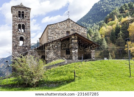Sant Joan de Caselles (Canillo, Andorra). Romanesque church build in the 12th century. - stock photo