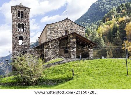 Sant Joan de Caselles (Canillo, Andorra). Romanesque church build in the 12th century. - stock photo