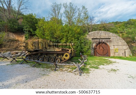 SANT'ORESTE, ITALY - 9 OCTOBER 2016 - A little town in province of Rome, on the Monte Soratte mountain, with the historical military gallery bunker, from World War II, now museum with tanks.