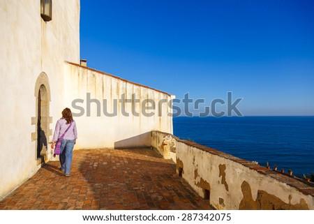 Sant Pau church in San Pol de Mar in the Mediterranean coast, Catalonia, Spain - stock photo