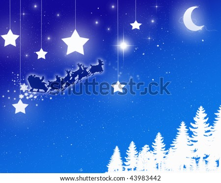 santa against night sky - stock photo