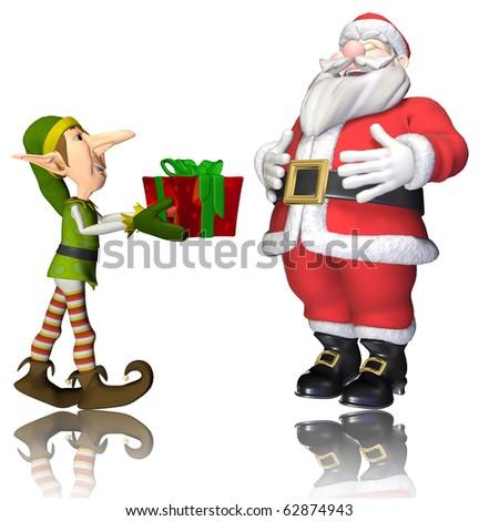 santa and elf cartoon passing the present - stock photo