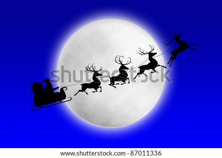 Santa and his reindeers riding against moon at night