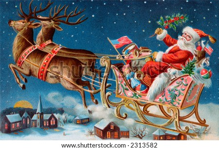 Santa and his sleigh flying above a sleepy village on Christmas eve - a 1906 vintage illustration