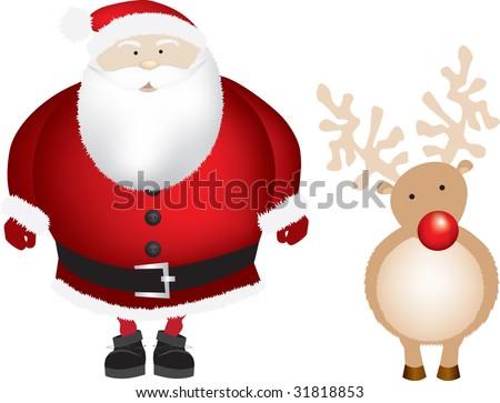 santa and reindeer rudolph - stock photo