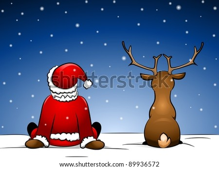 Santa and Reindeer sitting in the snow - stock photo