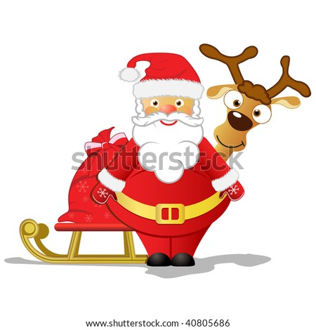 Santa and Rudolph - stock photo