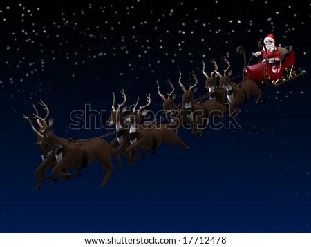 santa and sleigh - stock photo