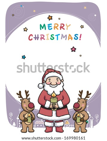 Santa and two reindeer holding candles. - stock photo