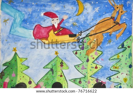 santa as free hand drawing by crayon color techniques from 5 years old thai young artist - stock photo