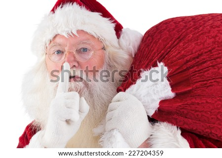 Santa asking for quiet with bag on white background