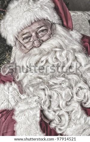 Santa at the North Pole - stock photo