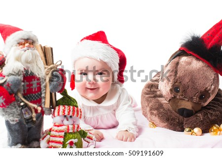 Santa baby girl in Christmas  on isolated white background  The concept of childhood and holiday