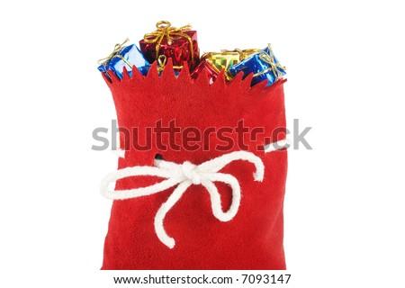 santa bag isolated on white. - stock photo