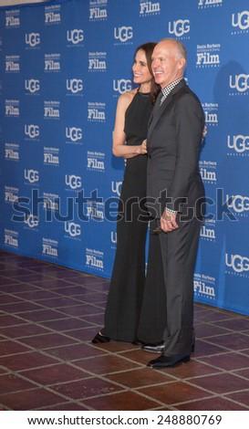 SANTA BARBARA, CA -  JANUARY 31, 2015: Actress Andie MacDowell and Actor Michael Keaton attend the 30th Santa Barbara International Film Festival where he will receive the Modern Master Award #SBIFF - stock photo