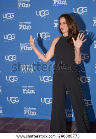 SANTA BARBARA, CA - JANUARY 31, 2015: Actress Andie MacDowell attends the Modern Master presentation ceremony at the 30th Santa Barbara International Film Festival #SBIFF - stock photo