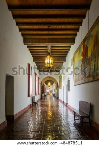 SANTA BARBARA, CALIFORNIA - JULY 31: Corridor in the Santa Barbara County Courthouse on Anacapa Street on July 31, 2016 in Santa Barbara, California