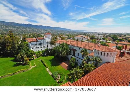 SANTA BARBARA, CALIFORNIA, USA - APRIL 9,2014 : Riviera view from clock tower at Santa Barbara Courthouse. It is Spanish Colonial Revival style building  in downtown Santa Barbara, California. - stock photo