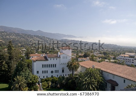 Santa Barbara city ,View from Courthouse building tower.Mist coming from the Ocean.Ca,USA - stock photo